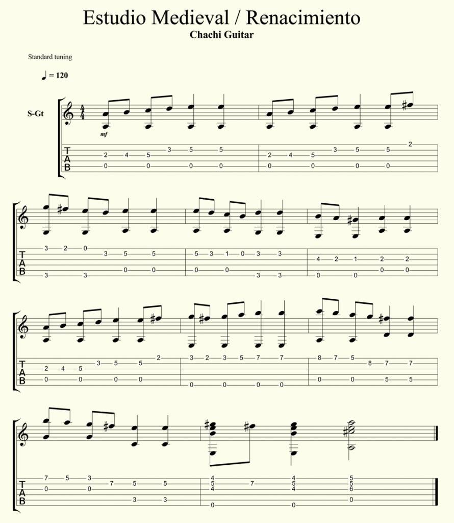 Como tocar musica medieval renacimiento con la guitarra for Partituras guitarra clasica