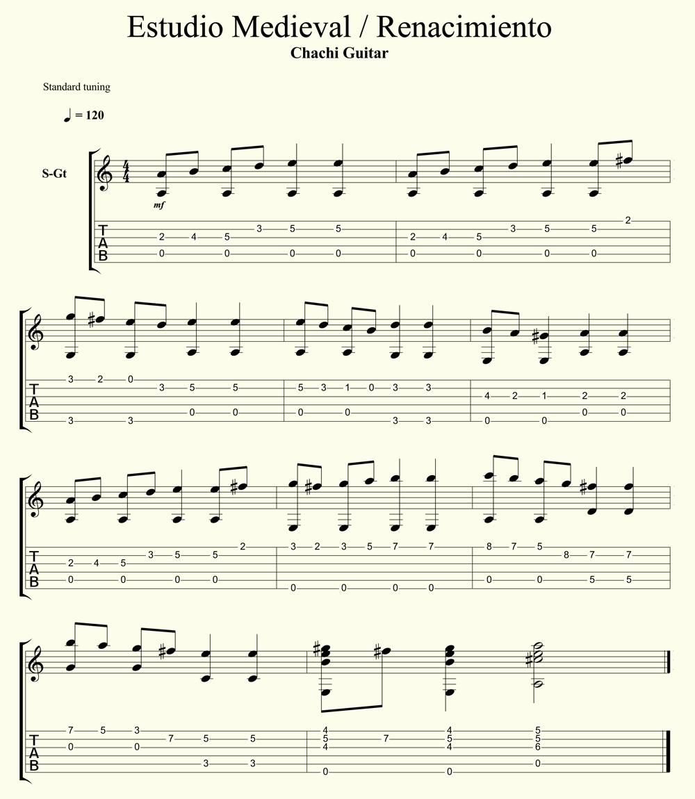 Como tocar musica medieval renacimiento con la guitarra for Partituras de guitarra clasica