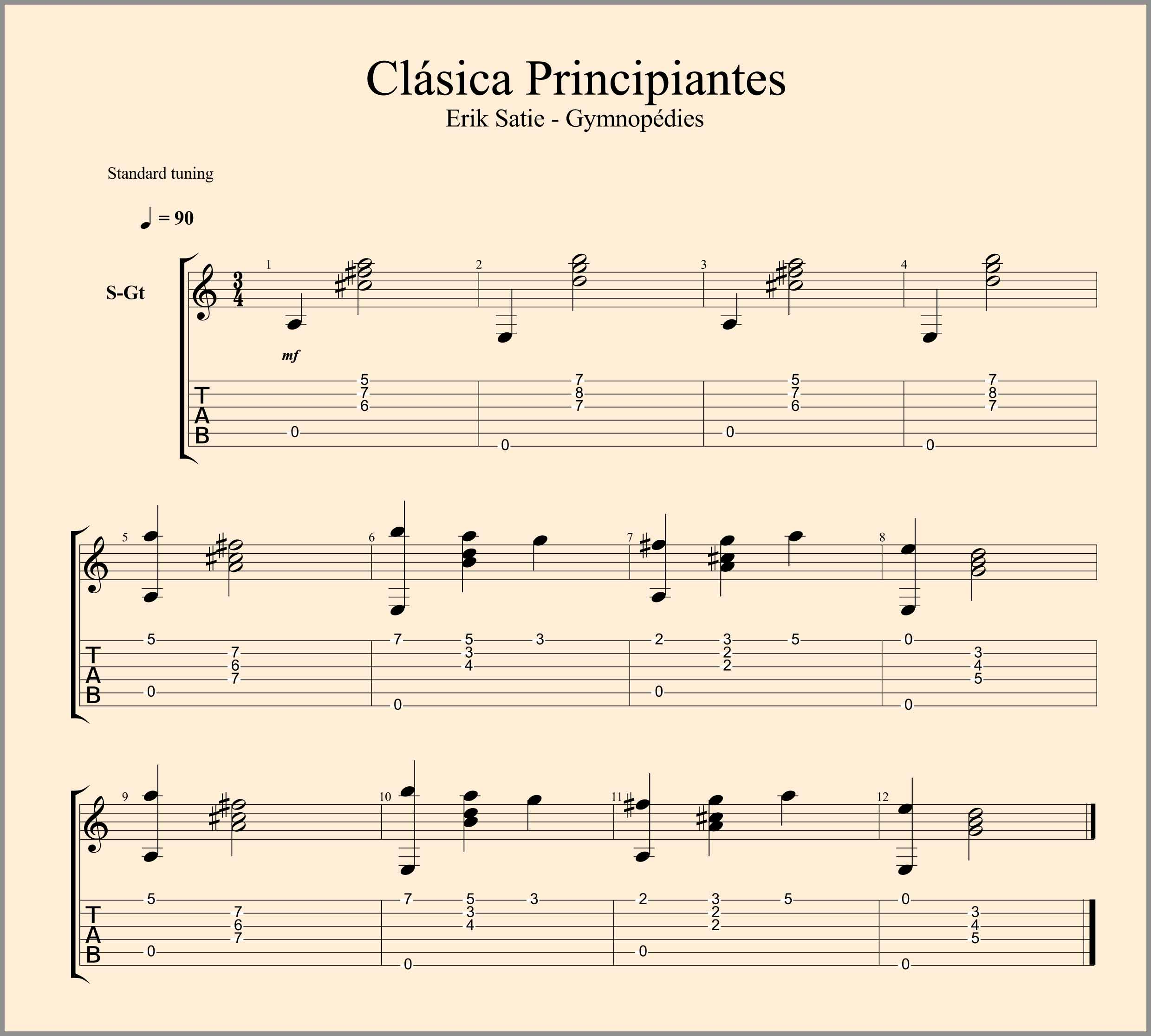 Nivel principiante chachi guitar for Partituras guitarra clasica