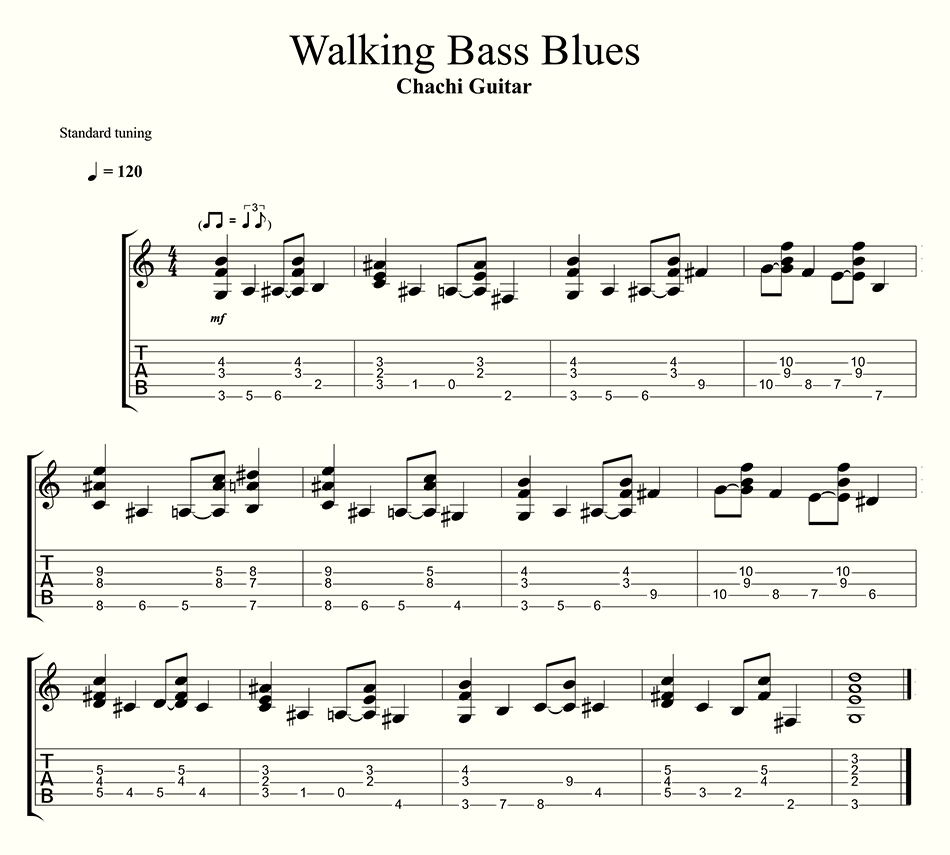 walking bass blues chachi